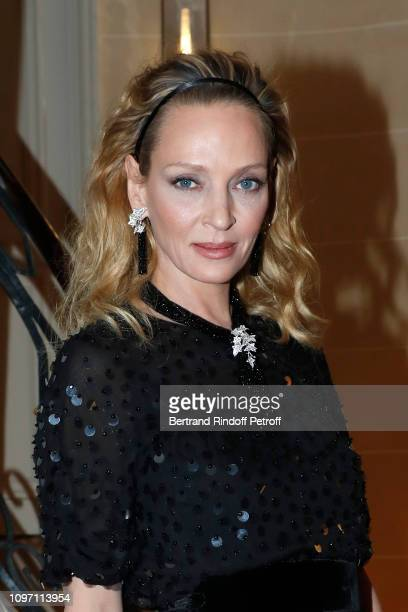 Uma Thurman attends the Boucheron Cocktail Party at Place Vendome on January 20, 2019 in Paris, France.