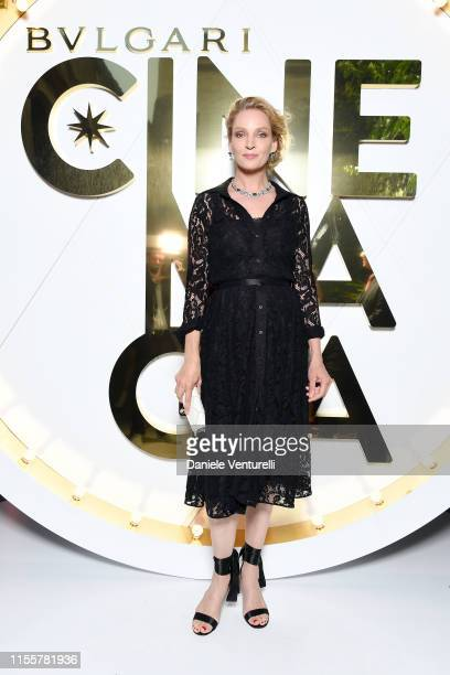 Uma Thurman attends the Bvlgari Hight Jewelry Exhibition on June 13 2019 in Capri Italy