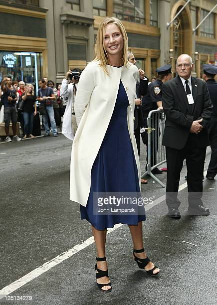 Uma Thurman attends the Calvin Klein Collection Spring 2012 fashion show during MercedesBenz Fashion Week at 205 West 39th Street on September 15...