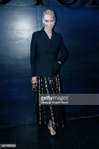Uma Thurman attends the Christian Dior show as part of the Paris Fashion Week Womenswear Fall/Winter 2017/2018 on March 3 2017 in Paris France