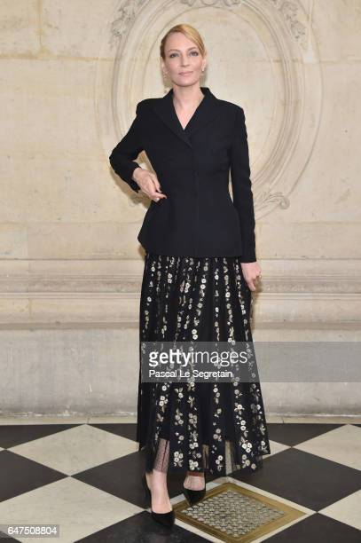 Uma Thurman attends the Christian Dior show as part of the Paris Fashion Week Womenswear Fall/Winter 2017/2018 at Musee Rodin on March 3 2017 in...