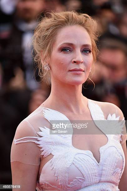 Uma Thurman attends the Closing Ceremony and A Fistful of Dollars screening during the 67th Annual Cannes Film Festival on May 24 2014 in Cannes...