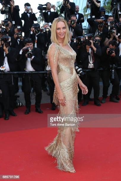 Uma Thurman attends the Closing Ceremony during the 70th annual Cannes Film Festival at Palais des Festivals on May 28 2017 in Cannes France