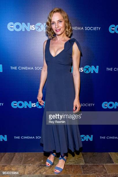 Uma Thurman attends The Con Is On New York Screening by the Cinema Society at The Roxy Cinema on May 2 2018 in New York City