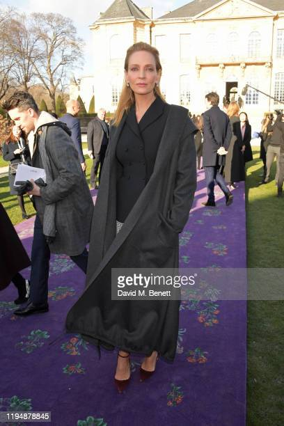 Uma Thurman attends the Dior Haute Couture Spring/Summer 2020 show as part of Paris Fashion Week at Musee Rodin on January 20 2020 in Paris France