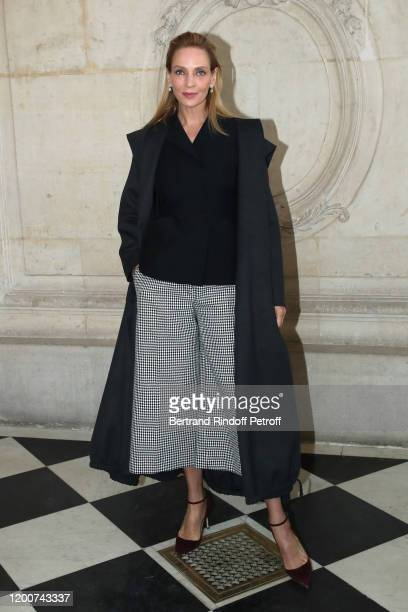 Uma Thurman attends the Dior Haute Couture Spring/Summer 2020 show as part of Paris Fashion Week on January 20, 2020 in Paris, France.