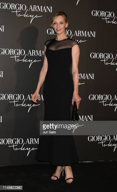 Uma Thurman attends the Giorgio Armani 2020 Cruise Collection photocall at the Tokyo National Museum on May 24 2019 in Tokyo Japan