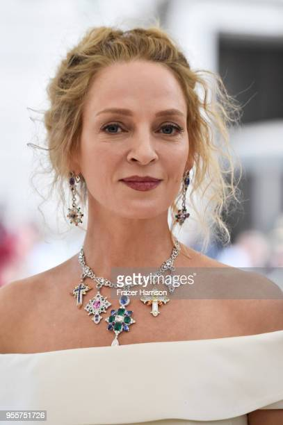 Uma Thurman attends the Heavenly Bodies Fashion The Catholic Imagination Costume Institute Gala at The Metropolitan Museum of Art on May 7 2018 in...