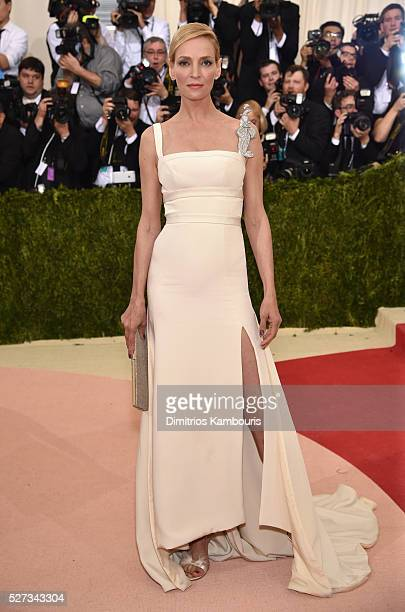 Uma Thurman attends the 'Manus x Machina Fashion In An Age Of Technology' Costume Institute Gala at Metropolitan Museum of Art on May 2 2016 in New...