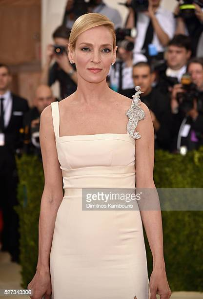 Uma Thurman attends the Manus x Machina Fashion In An Age Of Technology Costume Institute Gala at Metropolitan Museum of Art on May 2 2016 in New...