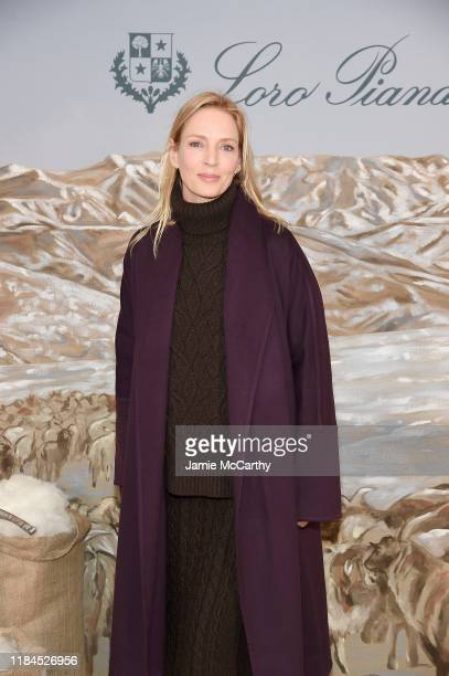 """Uma Thurman attends the New York City Film Premier Of """"Cashmere - The Origin Of A Secret"""" with Loro Piana on October 30, 2019 in New York City."""
