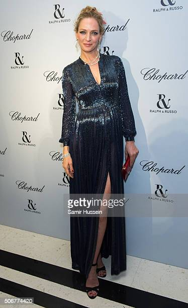 Uma Thurman attends the Ralph Russo and Chopard dinner during part of Paris Fashion Week on January 25 2016 in Paris France
