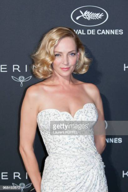 Uma Thurman attends the Women in Motion Awards Dinner at the 70th Cannes Film Festival at Place de la Castre on May 21 2017 in Cannes France