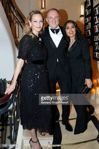 Uma Thurman CEO of Kering Group FrancoisHenri Pinault and his wife actress Salma Hayek attend the Boucheron Cocktail Party at Place Vendome on...