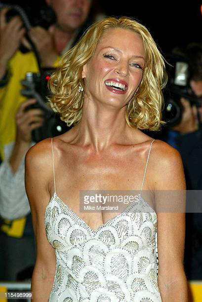 Uma Thurman during 'Kill Bill Vol 1' London Premiere Arrivals at The Odeon Leicester Square in London Great Britain
