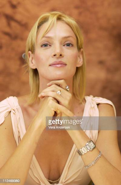 Uma Thurman during 'Kill Bill Vol 1' Press Conference with Uma Thurman at The Four Seasons Hotel in Beverly Hills California United States