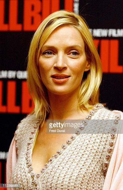 Uma Thurman during 'Kill Bill Vol 2' London Photocall at The Dorchester Hotel in London Great Britain