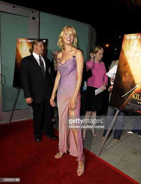 Uma Thurman during 'Kill Bill Vol 2' World Premiere Red Carpet at Arclight Cinerama Dome in Hollywood California United States
