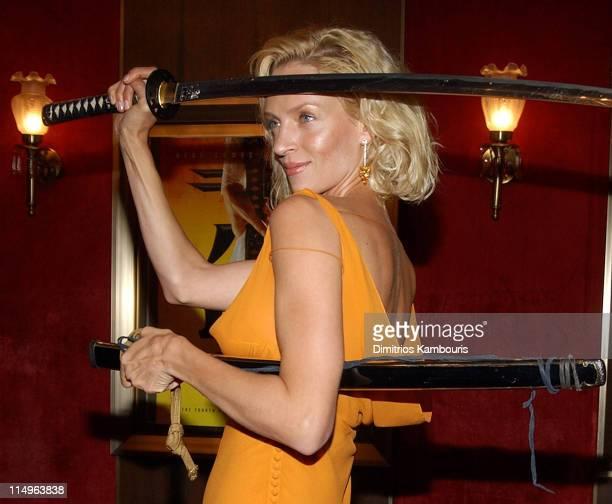 """Uma Thurman during """"Kill Bill: Volume 1"""" New York City Premiere - Inside Arrivals at Ziegfeld Theatre in New York City, New York, United States."""