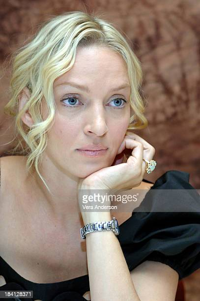 Uma Thurman during Prime Press Conference with Uma Thurman Meryl Streep and Bryan Greenberg at Regency Hotel in New York City New York United States