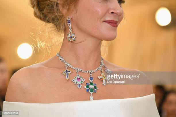 Uma Thurman fashion detail attends the Heavenly Bodies Fashion The Catholic Imagination Costume Institute Gala at The Metropolitan Museum of Art on...