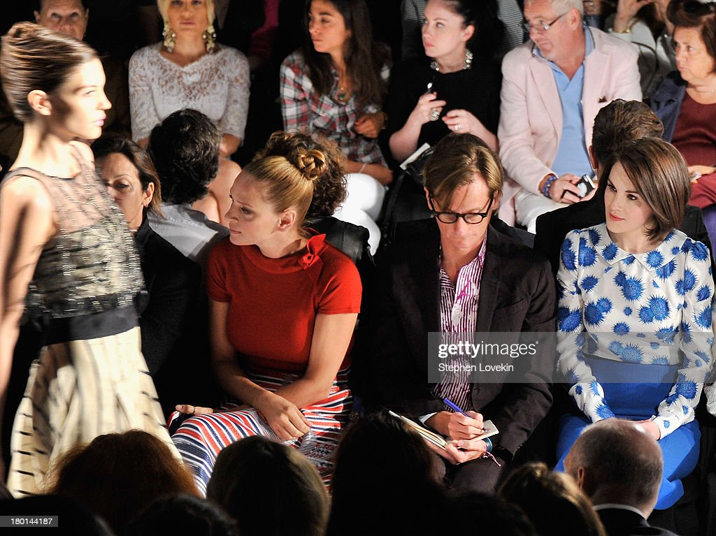Uma Thurman, Hamish Bowles, and Michelle Dockery attend the Carolina Herrera fashion show during Mercedes-Benz Fashion Week Spring 2014 at The Theatre at Lincoln Center on September 9, 2013 in New York City.