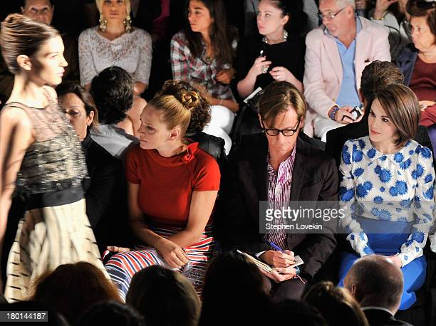 Uma Thurman Hamish Bowles and Michelle Dockery attend the Carolina Herrera fashion show during MercedesBenz Fashion Week Spring 2014 at The Theatre...