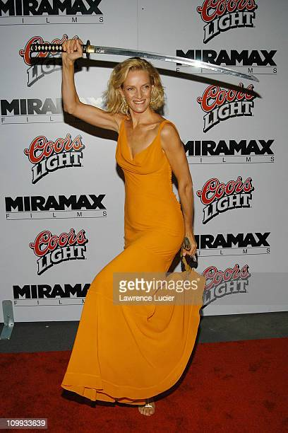 Uma Thurman in a dress by Dior during Kill Bill Volume 1 New York Premiere and After Party at Ziegfeld Theater in New York City New York United States