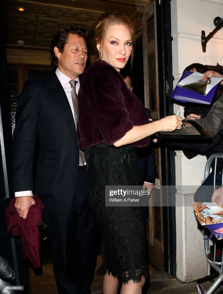Uma Thurman is pictured arriving at Grey Goose BAFTA event during London Fashion Week held at Little House on February 14, 2014 in London, England.