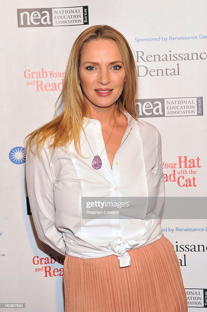 Uma Thurman Joins Cat In The Hat On NEA's Read Across America Day at New York Public Library on March 1, 2013 in New York City.