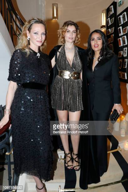 Uma Thurman Laetitia Casta and Salma Hayek attend the Boucheron Cocktail Party at Place Vendome on January 20 2019 in Paris France