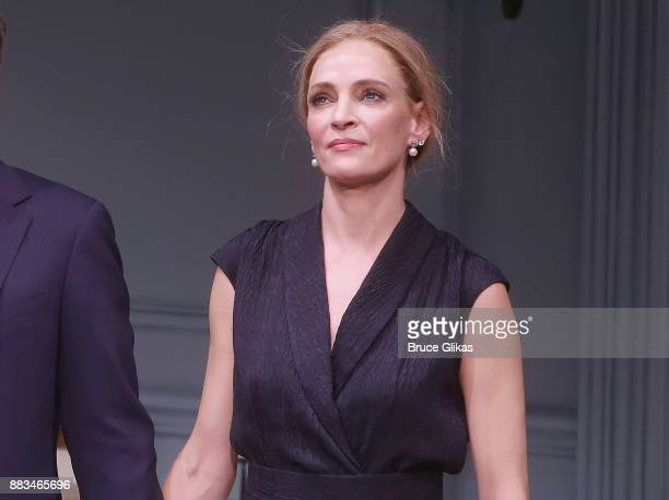 Uma Thurman makes her broadway debut during The Opening Night curtain call for 'The Parisian Woman' on Broadway at The Hudson Theatre on November 30...