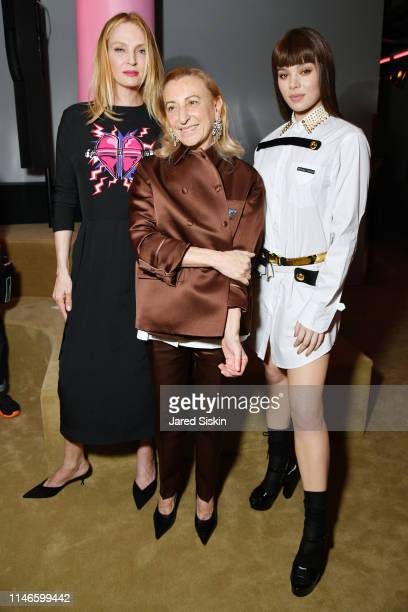 Uma Thurman Miuccia Prada and Hailee Steinfeld attend the Prada Resort 2020 fashion show at Prada Headquarters on May 02 2019 in New York City