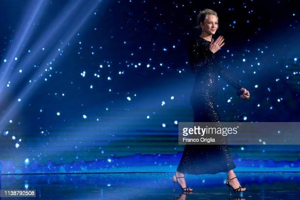 Uma Thurman on the stage during the 64 David Di Donatello Award Ceremony on March 27 2019 in Rome Italy