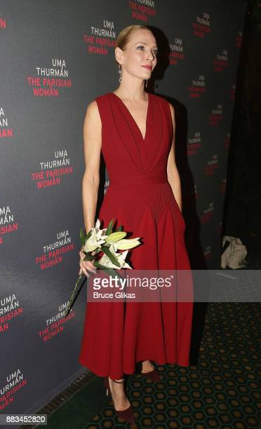 Uma Thurman poses as she makes her broadway debut at The Opening Night Party for 'The Parisian Woman' on Broadway at Sardis on November 30 2017 in...