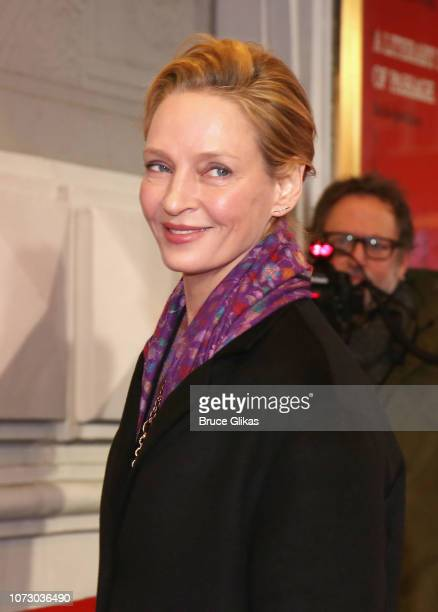 Uma Thurman poses at the opening night of the hit play To Kill a Mockingbird on Broadway at The Shubert Theatre on December 13 2018 in New York City