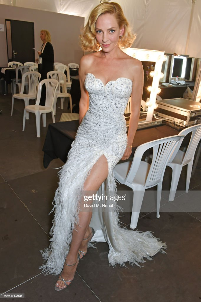 Uma Thurman poses backstage at the Fashion for Relief event during the 70th annual Cannes Film Festival at Aeroport Cannes Mandelieu on May 21, 2017 in Cannes, France.