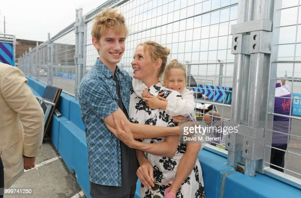 Uma Thurman poses with her children Levon ThurmanHawke and Luna ThurmanBusson attend the Formula E 2018 Qatar Airways New York City EPrix the double...