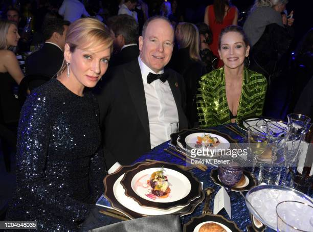 Uma Thurman Prince Albert II of Monaco and Sharon Stone attend the 2020 Hollywood For The Global Ocean Gala honoring HSH Prince Albert II of Monaco...