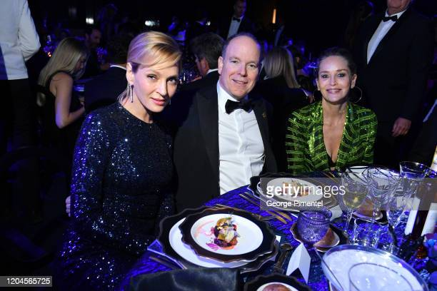 Uma Thurman Prince Albert II of Monaco and Sharon Stone attends 2020 Hollywood For The Global Ocean Gala Honoring HSH Prince Albert II Of Monaco at...