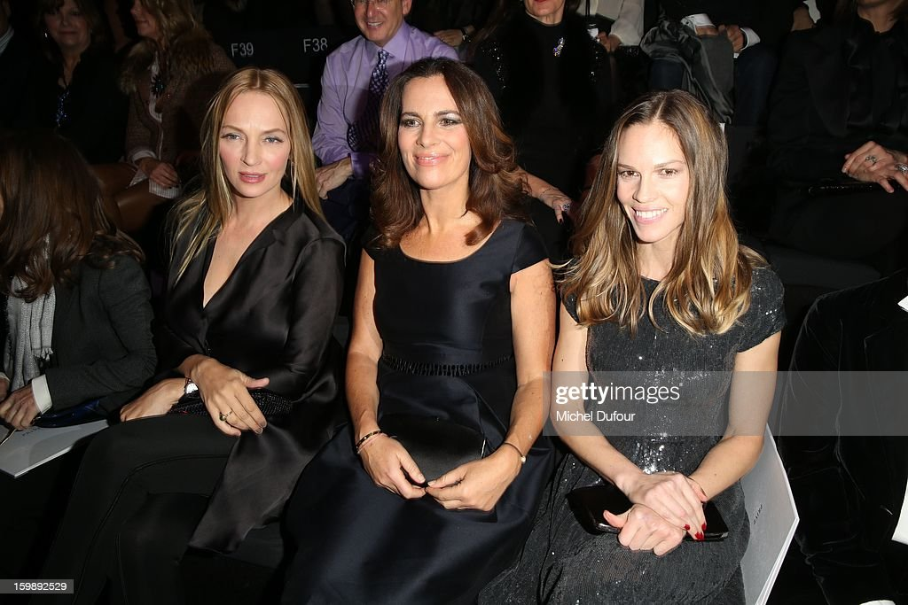 Uma Thurman, Roberta Armani and Hilary Swank attend the Giorgio Armani Prive Spring/Summer 2013 Haute-Couture show as part of Paris Fashion Week at Theatre National de Chaillot on January 22, 2013 in Paris, France.