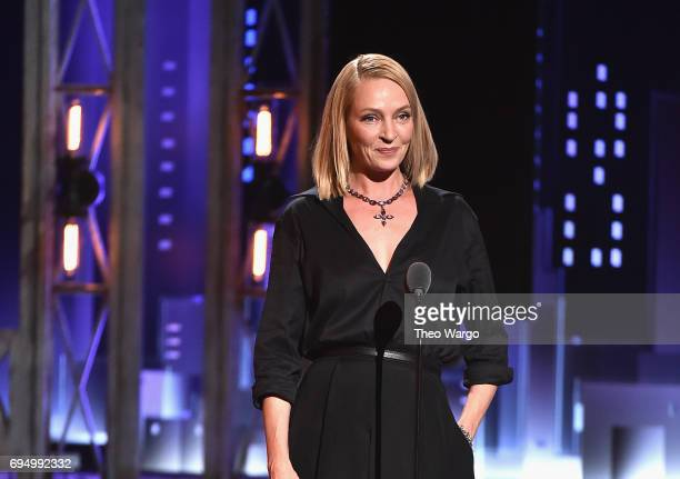 Uma Thurman speaks onstage during the 2017 Tony Awards at Radio City Music Hall on June 11 2017 in New York City