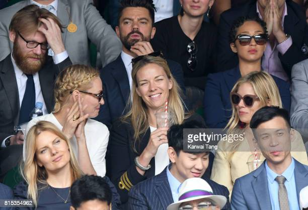 Uma Thurman Tori Cook and Sienna Miller attend day 13 of Wimbledon 2017 on July 16 2017 in London England