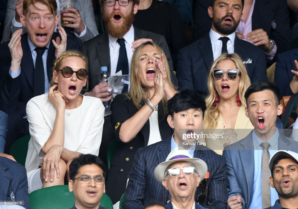 Uma Thurman, Tori Cook and Sienna Miller react as they attend day 13 of Wimbledon 2017 on July 16, 2017 in London, England.