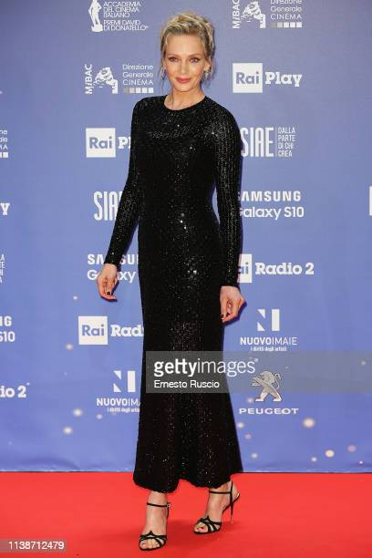 Uma Thurman walks a red carpet ahead of the 64 David Di Donatello awards ceremony Red Carpet on March 27 2019 in Rome Italy