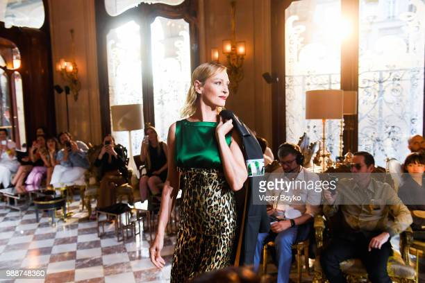 Uma Thurman walks the runway during Miu Miu 2019 Cruise Collection Show at Hotel Regina on June 30 2018 in Paris France