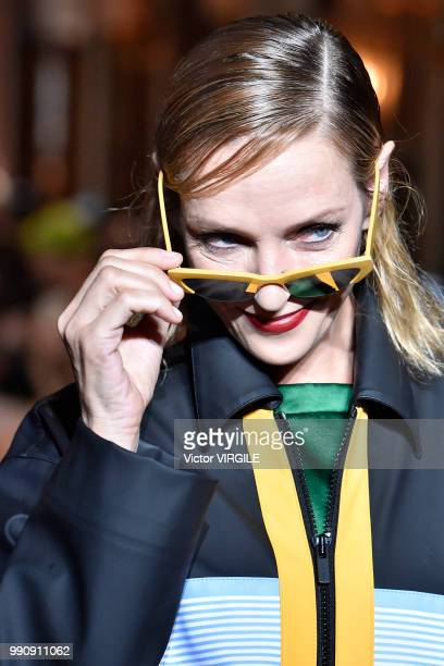 Uma Thurman walks the runway during the finale of the Miu Miu 2019 Cruise Collection Show at Hotel Regina on June 30 2018 in Paris France