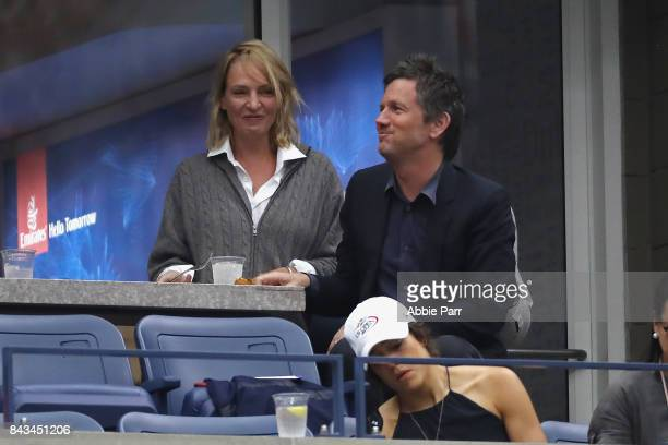 Uma Thurman watches Andrey Rublev of Russia play against Rafael Nadal of Spain in the Men's Singles Quarterfinal match on Day Ten of the 2017 US Open...