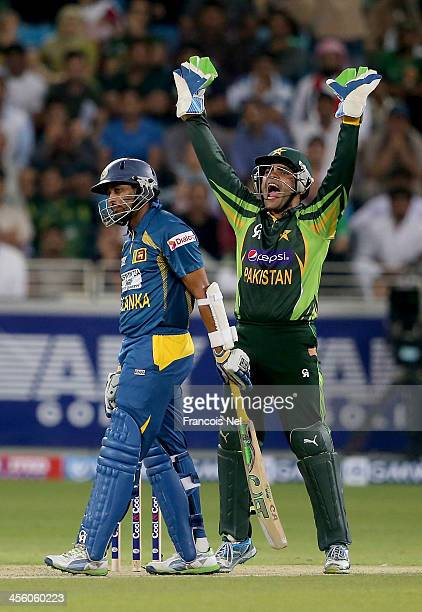 Umar Akmal of Pakistan appeal the wicket of TM Dilshan of Srilanka during the second Twenty20 International match between Pakistan and Sri Lanka at...