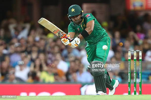 Umar Akmal of Pakistan bats during game one of the One Day International series between Australia and Pakistan at The Gabba on January 13 2017 in...